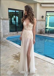 $enCountryForm.capitalKeyWord Australia - 2019 Sexy High Slit Prom Dresses Deep V Neck Lace Applique Backless Evening Gowns Chiffon Floor Length Formal Party Dresses