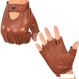 leather wrist gloves UK - Genuine Leather Semi-Finger Gloves Male Thin Unlined Non-Slip Breathable Driving Goatskin Half Fingers Men Mittens NAN7