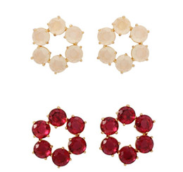 $enCountryForm.capitalKeyWord Australia - wholesale Winter New Handmade Faceted Pomegranate Red and Beige Earring Six gems Glass Crystal Earrings Jewelry
