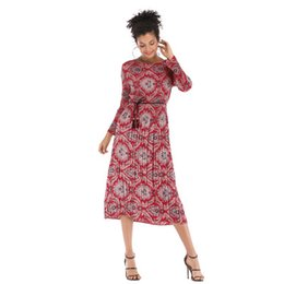 Long Chiffon Belts Australia - New Womens Porcelain Flower Prints Dresses Waist Slimming Chiffon Skirt with Belt Long Sleeve Elegant Beach Dress for Women Traditional