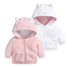 Cartoon Girl Hood Australia - Fashion Baby Winter Clothes kids coat Cartoon Ear Hooded Pullover Tops Warm Clothes girls coats
