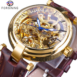 Luxury Brown Leather Watch Australia - Forsining 2019 Luxury Golden Watches Fashion Blue Hands Mens Automatic Self-wind Watches Top Brand Brown Genuine Leather Luminous Hands