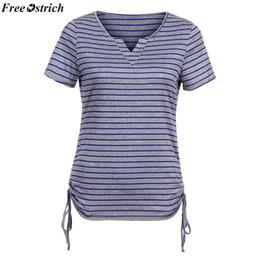 $enCountryForm.capitalKeyWord Australia - FREE OSTRICH Women's comfort Stripe Short Sleeve V-neck T-shirt Ladies Slim Strap Casual T-shirt tops Summer plus size