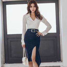 35e49dc8d6 2019 Spring V-Neck White Office Blouse Belt Bodycon Midi Irregular Skirt  Sets Two Piece Work Suit Dress