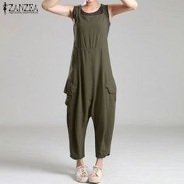 Wholesale rompers resale online - 2020 Summer Solid Drop Crotch Jumpsuits ZANZEA Casual Sleeveless Rompers Women Work Loose Overalls Suspenders Harem Pants Turnip