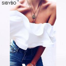 romper red bodysuits 2019 - Sibybo Ruffles Off Shoulder Sexy Bodysuit Women Fashion Slash Neck Backless Summer Romper Women Beach Casual Jumpsuit Bo