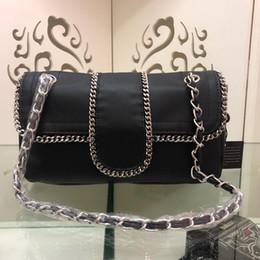 Ladies White Handbag Brand Australia - New Designer luxury handbags black white calf genuine leather with chain ends crossbody bag top quality ladies brand shoulder bags