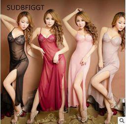 Pink Slips Lingerie Australia - HOT 2018 Sexy long sleepdress Women see through lingerie femme lace full slips