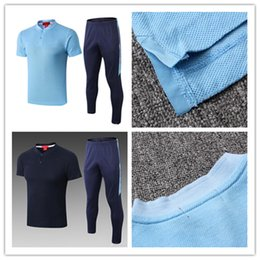 $enCountryForm.capitalKeyWord NZ - Polo Suit Tracksuits 2019 Short Sleeves Tops With Pants 19 20 Royal Blue Leisurewear Football Training Uniforms Sport Shirts Soccer Sets