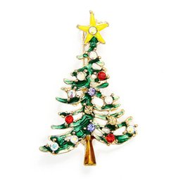 christmas brooch wholesale Australia - 1PC 5*3cm Colorful New Christmas Cute Tree Brooch Pins Crystal Alloy Rhinestone White Christmas Decoration Navidad Arbol nt#