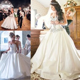 Strapless Satin Wedding Dresses Bridal Australia - Crystal Beaded Ivory Strapless Wedding Ball Gowns Luxury High Quality Puffy Bride Dress Middle East Satin Winter Bridal Ball Gown Train Long