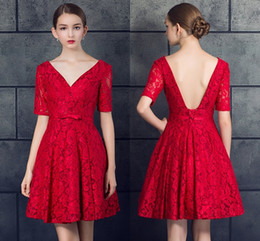 Red Dress V Neck Straps Australia - New Red Lace Deep V-Neck Formal A-Line Evening Dresses Short Fashion Halter Strap Small Dresses Prom Gowns DH068
