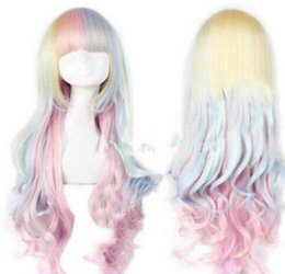 Wholesale WIG Lolita Mixed Multi Color Curly Long Hair Anime Cosplay Wig