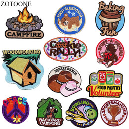 $enCountryForm.capitalKeyWord Australia - ZOTOONE Letter Camping Iron on Patches for Clothing Backpack Embroidery Bear Dog Patch Stripe on Clothes Cute DIY Applique Badge