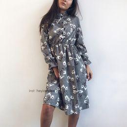 Vintage Style Slimming Dresses Australia - Corduroy High Elastic Waist Vintage Dress A-line Style Women Full Sleeve Flower Plaid Print Dresses Slim Feminino 18 Colors S515