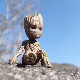 groot figure NZ - Free shipping Sitting position Groot Pocket Edition Shuren Decoration toy model Toy Figures by hand Brazilian wooden potted plants toy