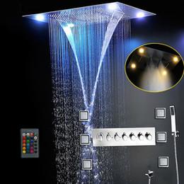 Venta al por mayor de Juego de ducha más completo 6 Funciones Sistema de baño de lujo Cascada grande Lluvia dual Misty Oculto Ducha de techo Masajeador Termostático