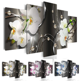 frames for flower paintings 2019 - ( No Frame ) Diamond Orchid Canvas Print Modern Abstract Flower Floral Art Painting Home Decoration Gift for Love, Choos