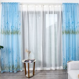 fresh flower wholesalers Australia - Tulle Curtains Fresh Transparent Petunia Flower Pattern Gauze Window Curtain Sheer Drape Home Bedroom Decor