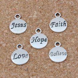 Silver braceletS hope online shopping - Hope Believe Love Faith Jesus Charms Pendants x15 mm Antique Silver Fashion Jewelry DIY Fit Bracelets Necklace Earrings A