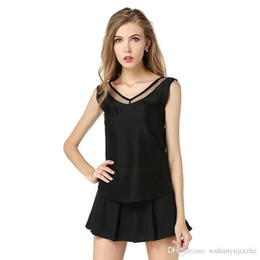 $enCountryForm.capitalKeyWord Australia - Women Tank Top Summer V Neck Chiffon Vest Top Sleeveless Casual Tank Blusas Tops Sheer Mesh Patchwork T Shirt Bottom Camisole JC035