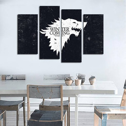 Unframed Art Prints Australia - 4pcs set Unframed Family Crest House of Stark - Winter is Coming Print On Canvas Wall Art Picture For Home and Living Room Decor