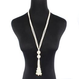 0e80d2779 Long Pearls Necklaces UK - Retro Pearl pendant necklace long wool chain  classic women necklace dress