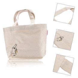 Cartoons Ladies Handbag Shopping NZ - Ladies Handbags Women Grocery Reusable Cartoon Rabbit Canvas Handbags Tote Bag Shoulder Bags Environmental Shopping Bag