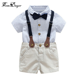 infant baby boy winter overall NZ - Gentlemen 3pcs Outfits 2017 Summer Newborn Baby Boy Clothing Sets Tie Shirt+overall Infant Clothes For Party Wear Q190530