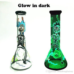 bongs 7mm Australia - Glow in The Dark Glass water bongs top selling 7mm thick beaker bong for sale with bowl and downsteam