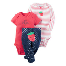 cute clothes UK - Fashion 2019 Newborn Baby Girl Clothes Long Sleeve Stripe Bodysuit+pant Clothing Suit Boy Outfit Summer Set Infant Clothing Y19050801
