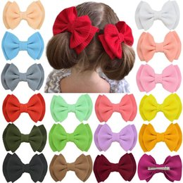 double clip for hair Australia - INS double-deck bows girls hair clips cute kids barrettes nylon baby BB clips designer hair accessories for kids baby accessories A7269