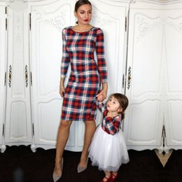 Matching Mommy Girl Clothes NZ - 2019 New Mommy Me Look Girl Plaid Dress Family Matching Outfits Mom Mother And Daughter Clothes Dresses J190508