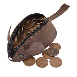 Handmade leatHer coin purse wHolesale online shopping - Rustic Leather Mouse Coin Purse Change Pouch Handmade by Hide Drink Bourbon Brown