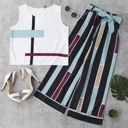 $enCountryForm.capitalKeyWord Australia - Casual Striped Two Piece Set Women Summer Sleeveless Elegant Tank Top Office Lady Work Wide Leg Pants Chiffon Suit