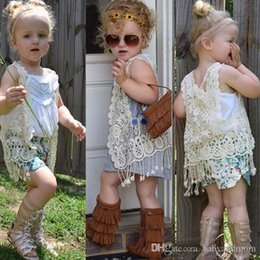 Girls Vest Knitting Australia - 2016 INS HOT baby girl kids floral crochet vest crocheted hollow lace knitted shawl robe coat cardigan Poncho tops Cute tassels fringed
