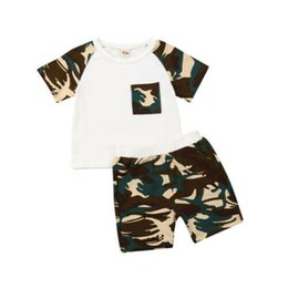 Girls Winter Short Pants UK - 2PCS 2019 New Baby Kids Boys Girl Camouflage T-shirt Tops Pants Shorts Outfits Clothes
