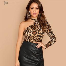 Wholesale t shirts cut out shoulders for sale – custom Multicolor T Shirt One Shoulder Leopard Print Leopard Tee Casual Long Sleeve Asymmetrical Neck Tops Women Slim Autumn Cut Out