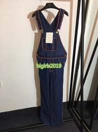 $enCountryForm.capitalKeyWord Australia - high end women girls denim overalls embroidered letter motif piping jumpsuits jeans pants capris top quality fashion design luxury trousers