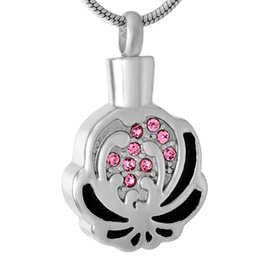 Crystals Souvenir UK - Crystal Inlaid Flower Grey Stainless Steel Cremation for Urn Ashes Jewelry Souvenir Clip Souvenir Necklace Women's IJD9511