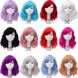 Cheap Solid Color Cosplay Wigs For Women Christmas Party Short Water Wave  Sythentic Wigs with Babt Hair Wholesale 14inch 8f47b3b603e7