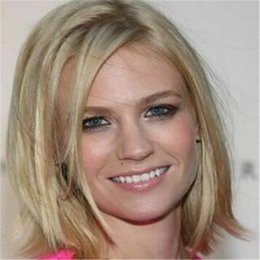 custom blonde hair Canada - 100% Human Hair Custom January Jones Shoulder Medium Blonde Straight Womens Wigs