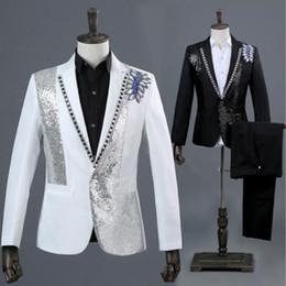 $enCountryForm.capitalKeyWord NZ - Blazer men formal dress latest coat pant designs marriage suit men Photo studio Colorful diamond wedding suits for men's white