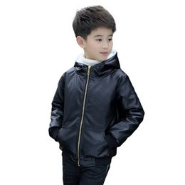 $enCountryForm.capitalKeyWord UK - 2019 Fashion Autumn Winter Teenage Boys Faux Leather Coat Kids Thick Warm Hooded Zipper Outerwear Jackets Children Clothes