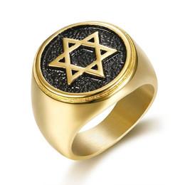 $enCountryForm.capitalKeyWord Australia - Stainless Steel Rock roll Hexagram Men Jewish Religion Rings Round Star Of David Men's Rings Masonic Silver Gold Retro style