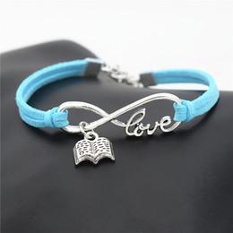 Brand Book Australia - Handmade Women Men Stylish Infinity Love Reading Lovers Book Charm Jewelry Blue Leather Suede Cuff Bracelets & Bangles Brand Friendship Gift