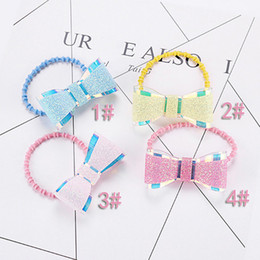 Hair Holder Comb Australia - Cute Glitter Sweet Bows Girls Hair Ties Rope Candy Color Ponytail Holder Gum Shining Elastic Hair Bands Accessories