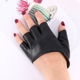 pu leather fingerless gloves Australia - Fashion Leather Sexy Dancer Modelling Fashion Half Finger PU Leather Gloves Ladys Fingerless Driving Show Pole Dance