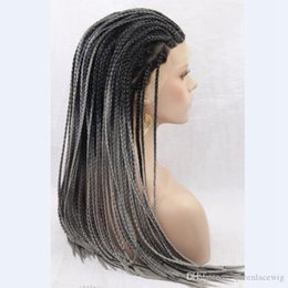 micro braided wigs UK - Synthetic Micro Braided Wigs Ombre Black to Grey Synthetic Braided Lace Front Wigs African American Braided Wig for Black Women