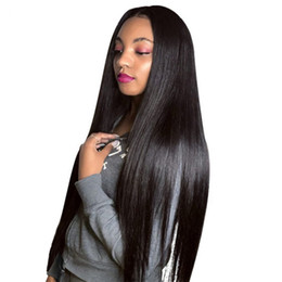 Silk Base Full Lace Wig Free UK - Free Shipping Silk Base Wig Pre Plucked With Baby Hair Straight Brazilian Remy Hair Silk Top Lace Front Human Hair Wigs